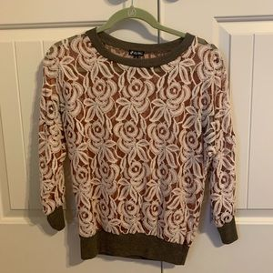 Lily White Lace Sweater Brown Size Medium